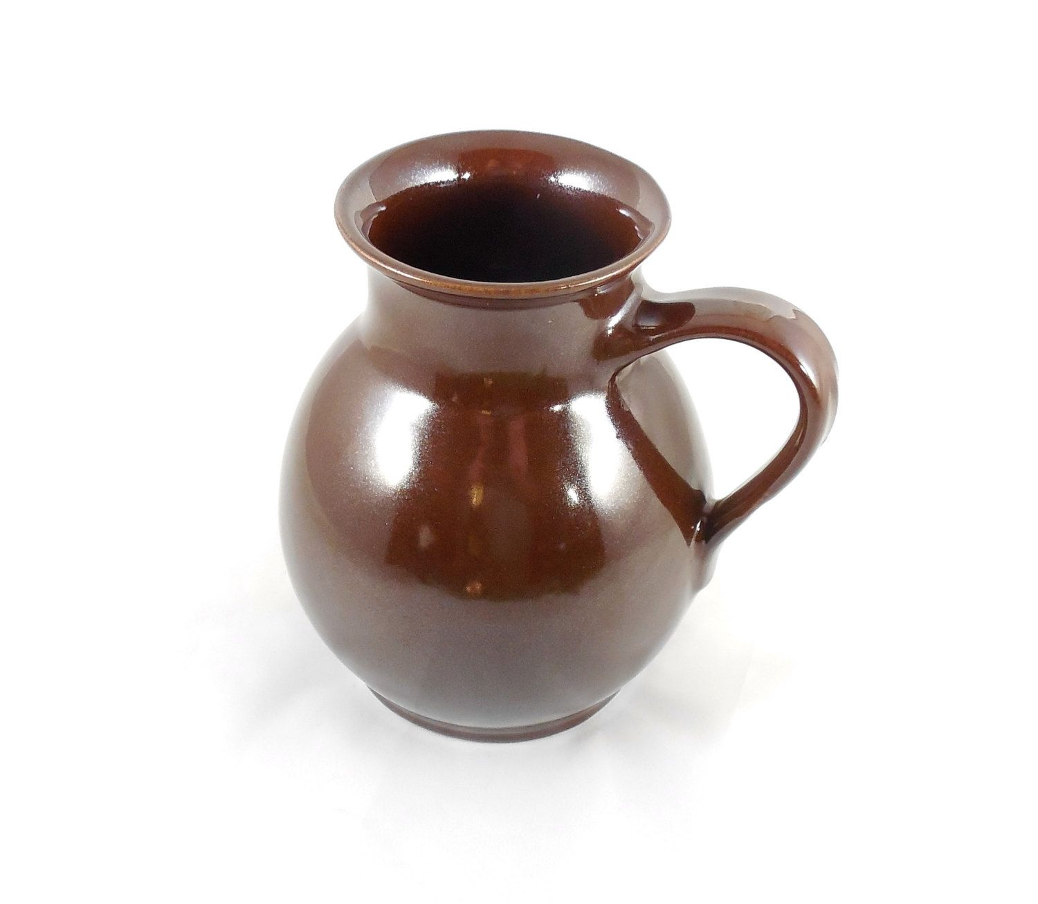 """Vintage Brown Pottery Pitcher 6 1/2"""", Ceramic Brown Glazed Milk Jug, Collector Pottery Jug with Handle, Studio Pottery Jug by ShellyisVintage on Etsy"""