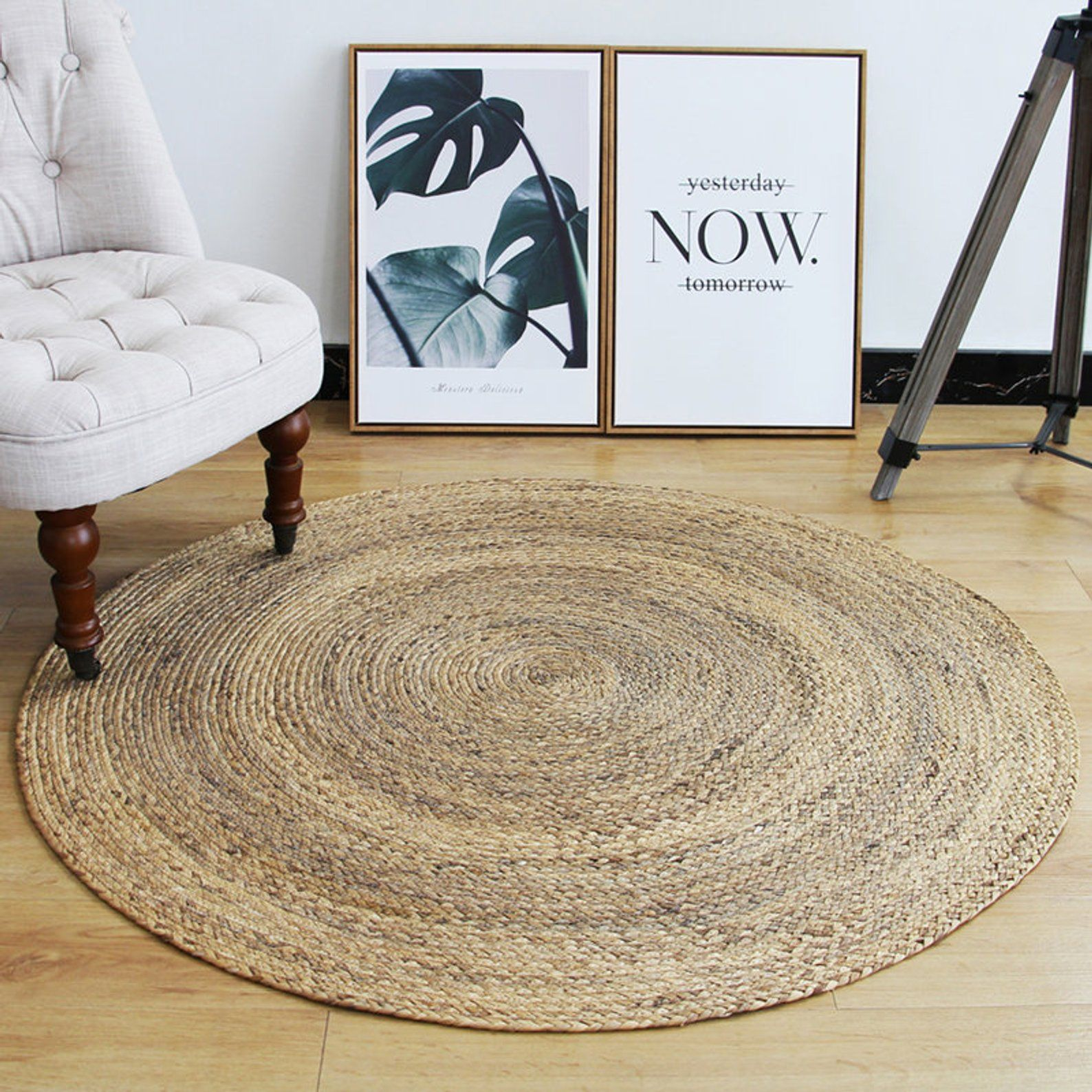 CUSTOM SIZE round brown woven straw floor mats and rugs
