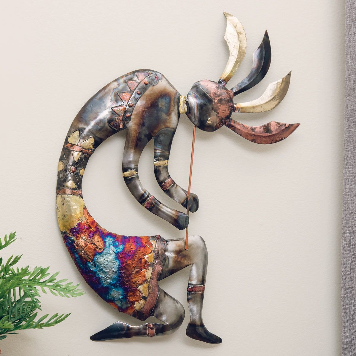 Copper dripped kokopelli metal wall art extra large in