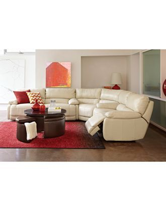 Nina Leather 3 Piece Power Reclining Sectional Sofa 2 Loveseats And Wedge Sec Living Room Leather Leather Living Room Set Living Room Furniture Collections