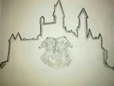 Line Drawing Step By Step : Hogwarts castle line art drawing and