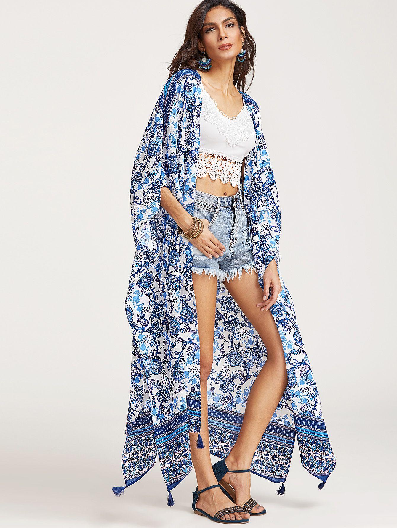 Shop Blue Flower Print Tassel Trim Longline Kimono online. SheIn offers Blue Flower Print Tassel Trim Longline Kimono & more to fit your fashionable needs.