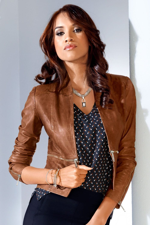 Heine Zip Detail Leather Jacket Online Shop EziBuy (With