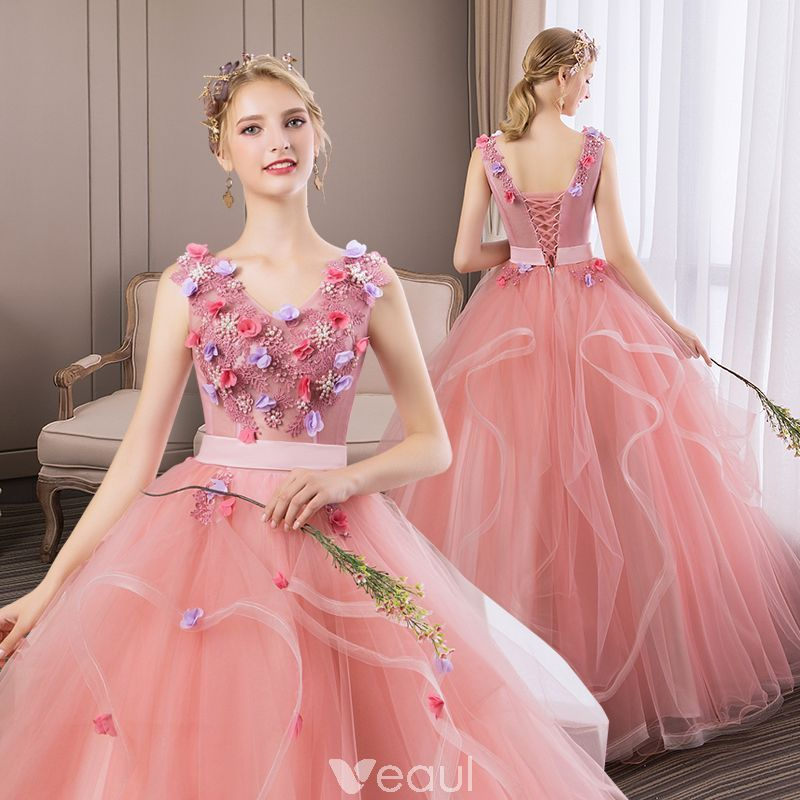 33cfe0fad1 Flower Fairy Blushing Pink Prom Dresses 2019 A-Line   Princess V-Neck Pearl  Lace Flower Appliques Sleeveless Backless Cascading Ruffles Floor-Length    Long ...