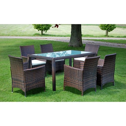 Brown Poly Rattan Garden Furniture Set 1 Table 6 Chairs Rattan