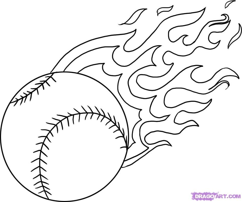 Baseball | flaming baseball – cool! Get this coloring page ...