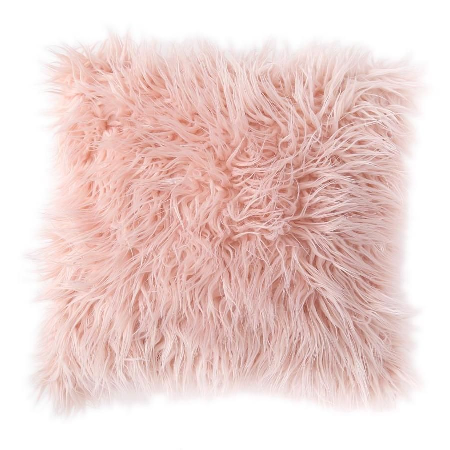 MHF Home MHF Home Estelle Pink Faux Fur 18-in Throw Pillow Cover | M602382