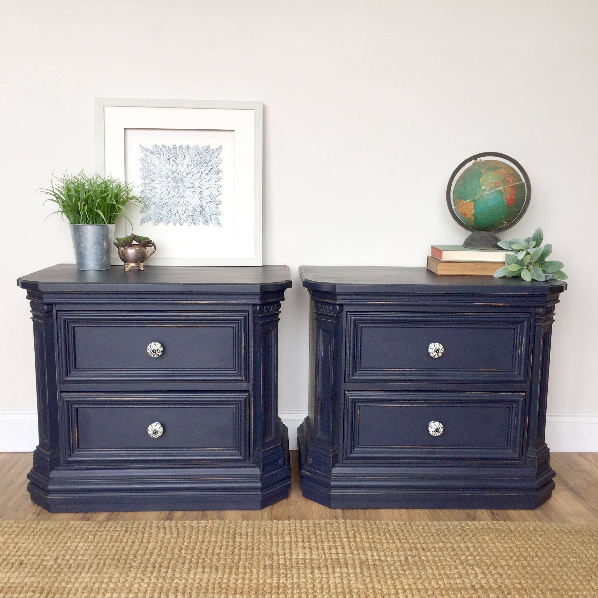 Navy Blue Nightstands Thomasville Bedroom Furniture Refinished