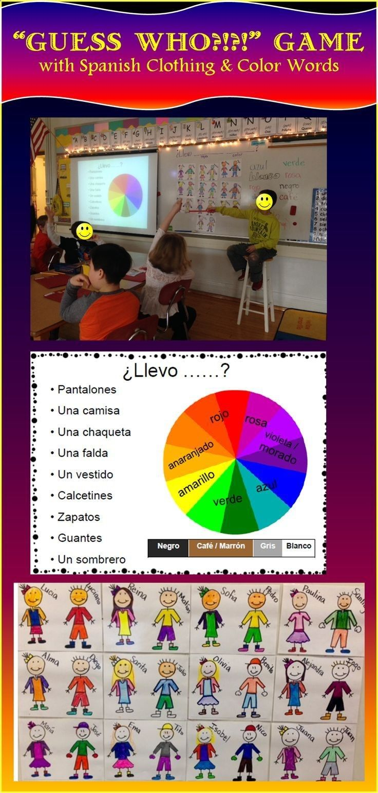 Guess Who?! A game using Spanish clothing color words