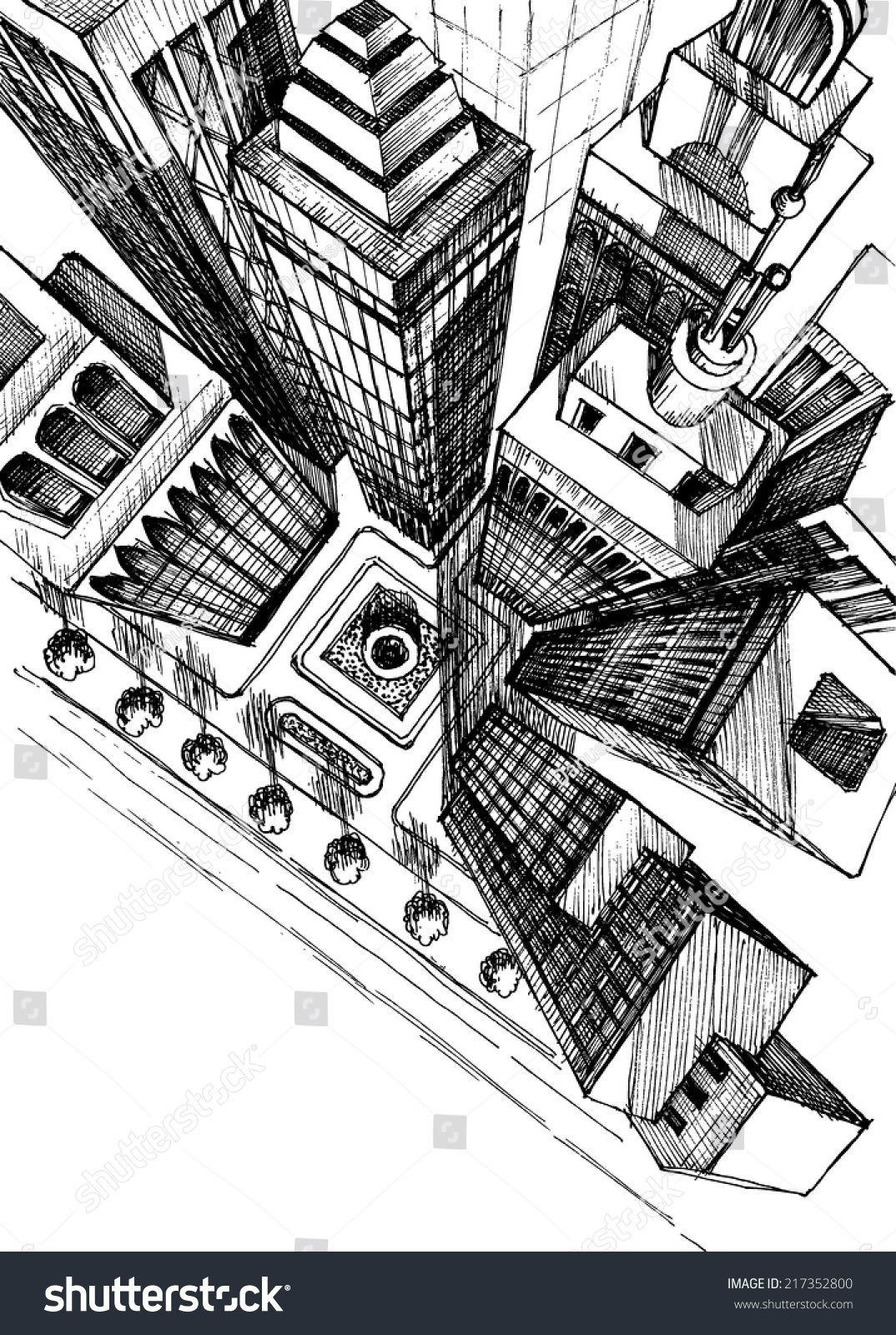 Top View Of A City Skyscrapers Drawing Aerial View Sketch Ville