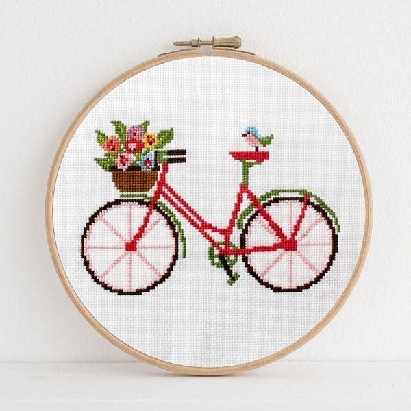 Photo of Spring Bicycle Cross Stitch Pattern #Bicycle #Cross #pattern #Spring #Stitch