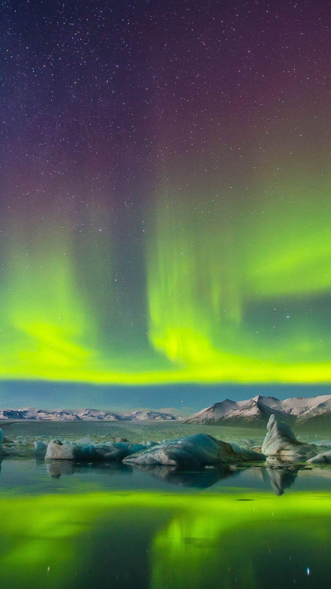 Earth Aurora Borealis Snow Night Aurora Mobile Wallpaper