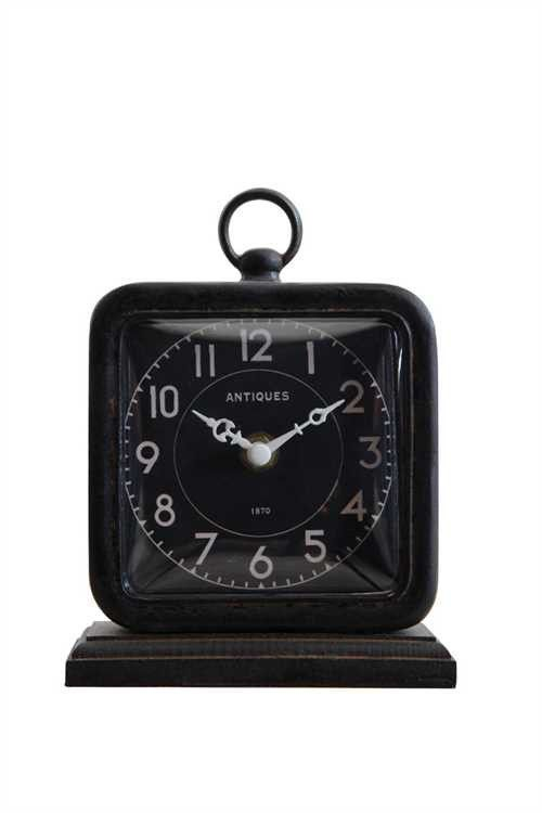 Black Pewter Table Clock