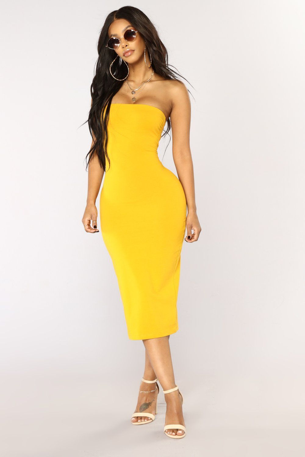 83f664493c Rhianna Tube Dress - Mustard in 2019   Fashion Nova   Dresses, Tube ...
