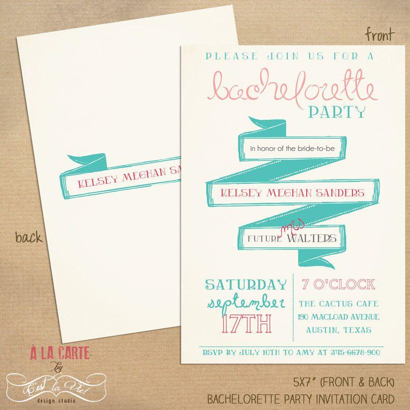 Printable Bachelorette Party Invitation Card - Customizable Card ...