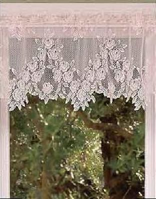 Heritage Lace Tea Rose Pattern Valance Or Tier Curtain 60 X 24 Ecru