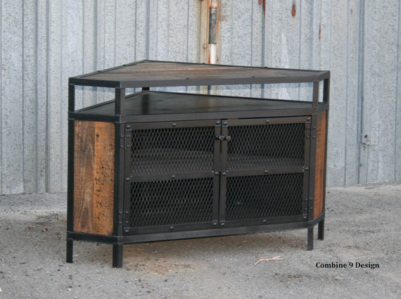 Industrial Corner Unit - Reclaimed wood TV Stand. Urban, Modern ...