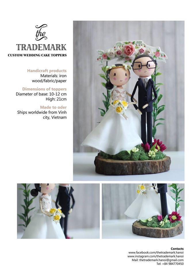 Groom & Bride Dolls * Main material: ironwood, fabric, paint, color paper. * Size: diameter of base-10cm / high-21cm. #Thetrademark #wedding #caketopper #wooddoll #doll #custom #gateflower #handcraft #groom #bride