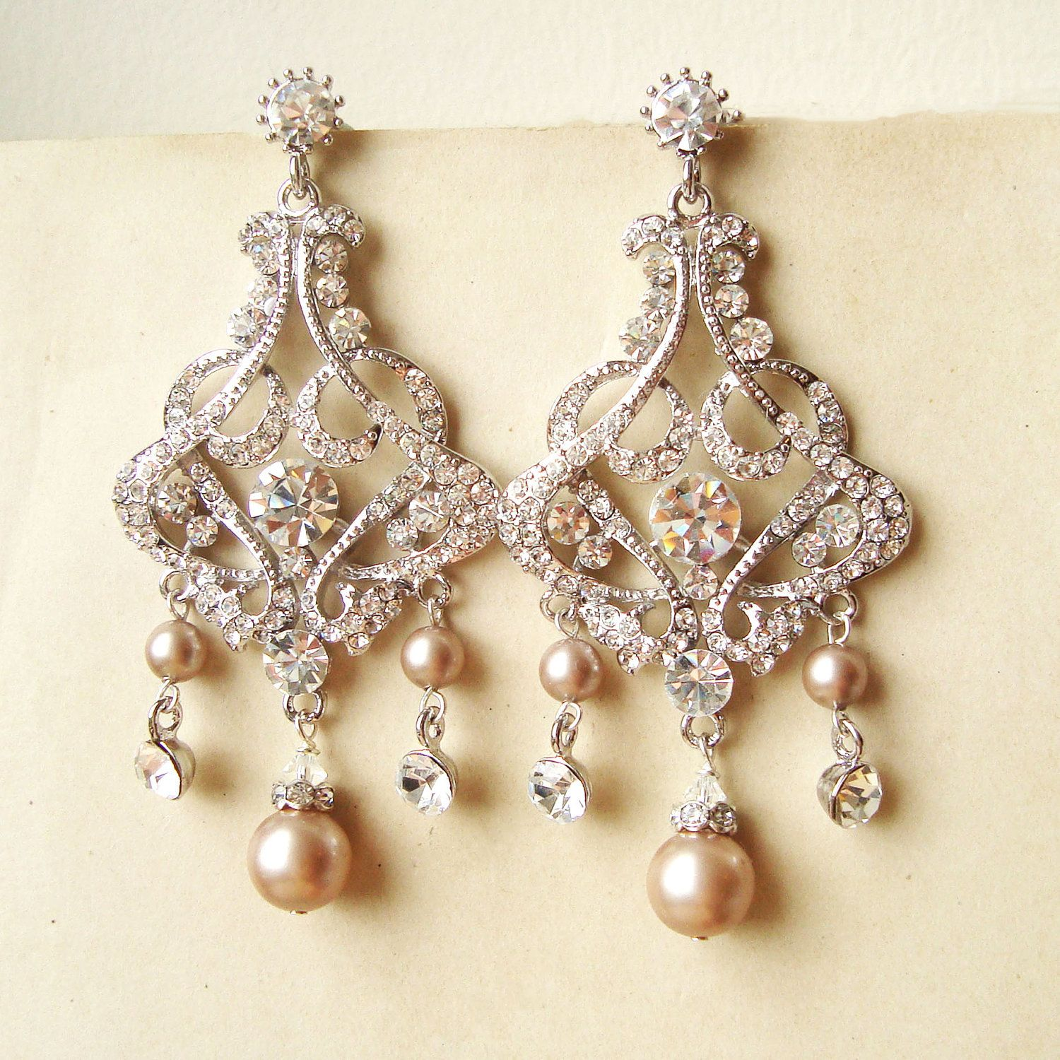 Champagne pearl bridal earrings chandelier wedding for Jewelry for champagne wedding dress