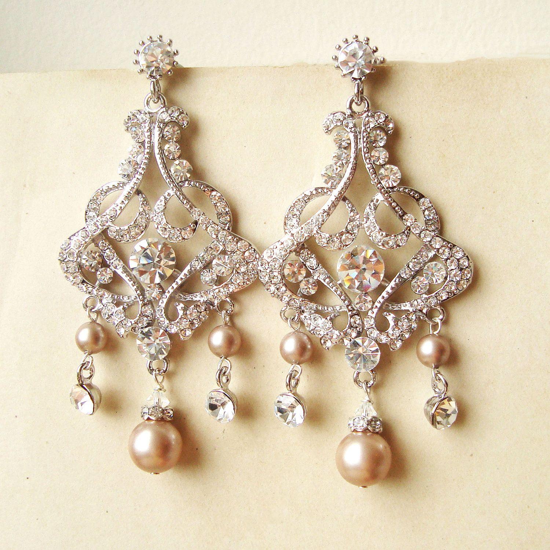 Champagne Pearl Chandelier Bridal Earrings Vintage By Luxedeluxe 88 00