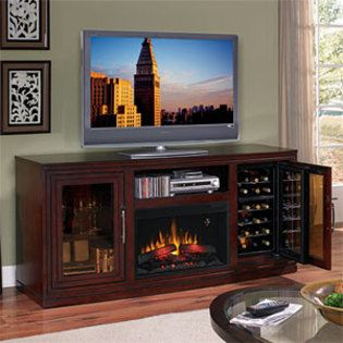 Electric Fireplace Entertainment Center Wine Cooler
