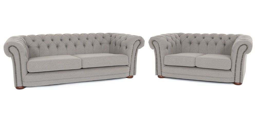 699 3 2 Seater Studded Brand New Uk Handmade Modern Chesterfield Sofa Set In Luxury Grey Fabric Home Furniture Diy Sofas
