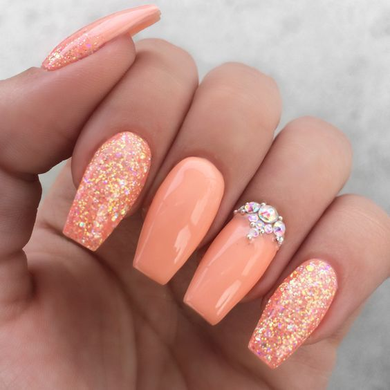 Girly peach glitter rhinestone nails. Are you looking for ...