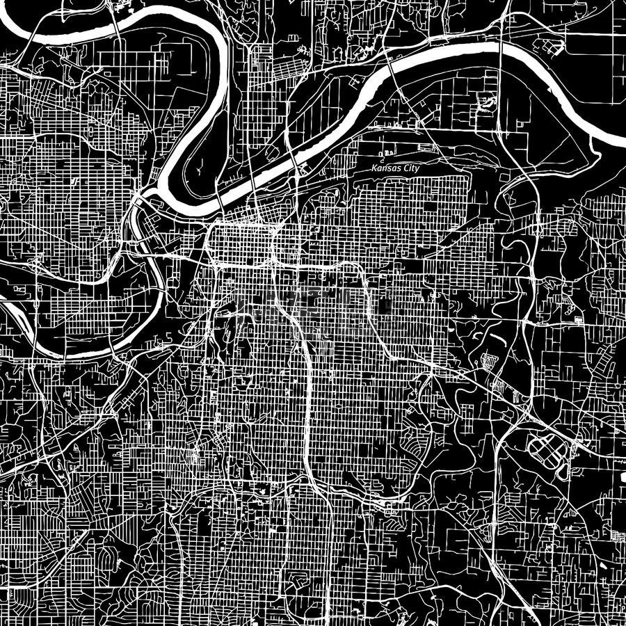 Map Of America Kansas City.Kansas City Missouri Downtown Map Dark Maps Vector Downloads