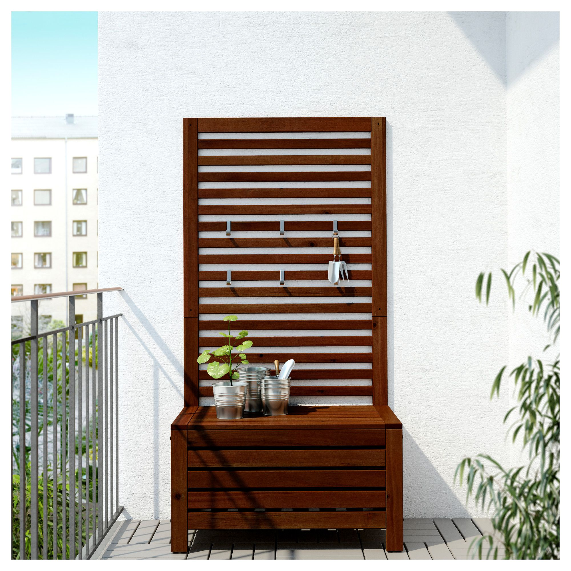 Ikea Usa All Products: ÄPPLARÖ Bench With Wall Panel, Outdoor Brown