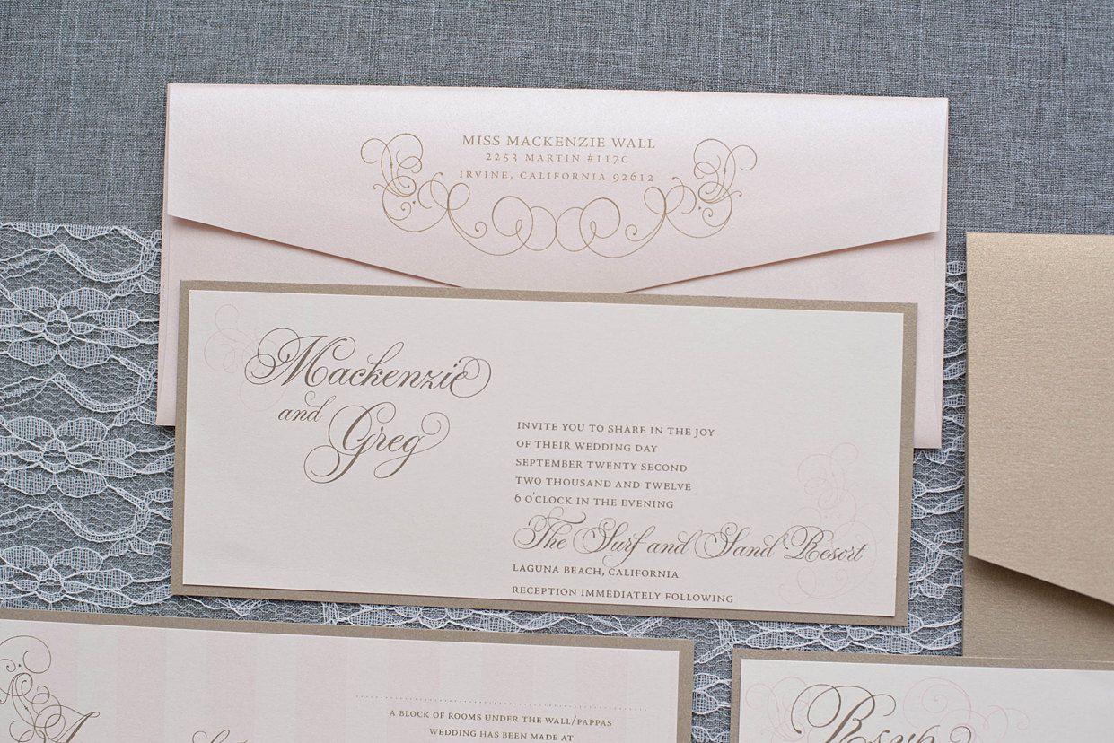 Champagne and Blush Pink Skinny Wedding Invitation