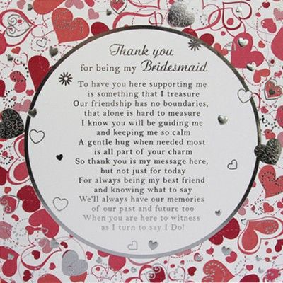 Bridesmaids Thank You Card Wording Bridesmaid Card Large 210mm X