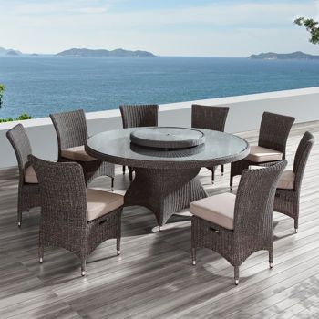 Habra Ii 9 Piece Dining Set Outdoor Furniture Sets Dining Set Woven Dining Chairs