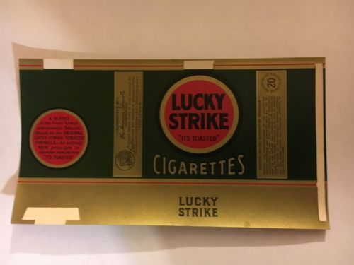 Lucky Strike Cigarros Verde Original Etiqueta Sem Uso | Augustoo