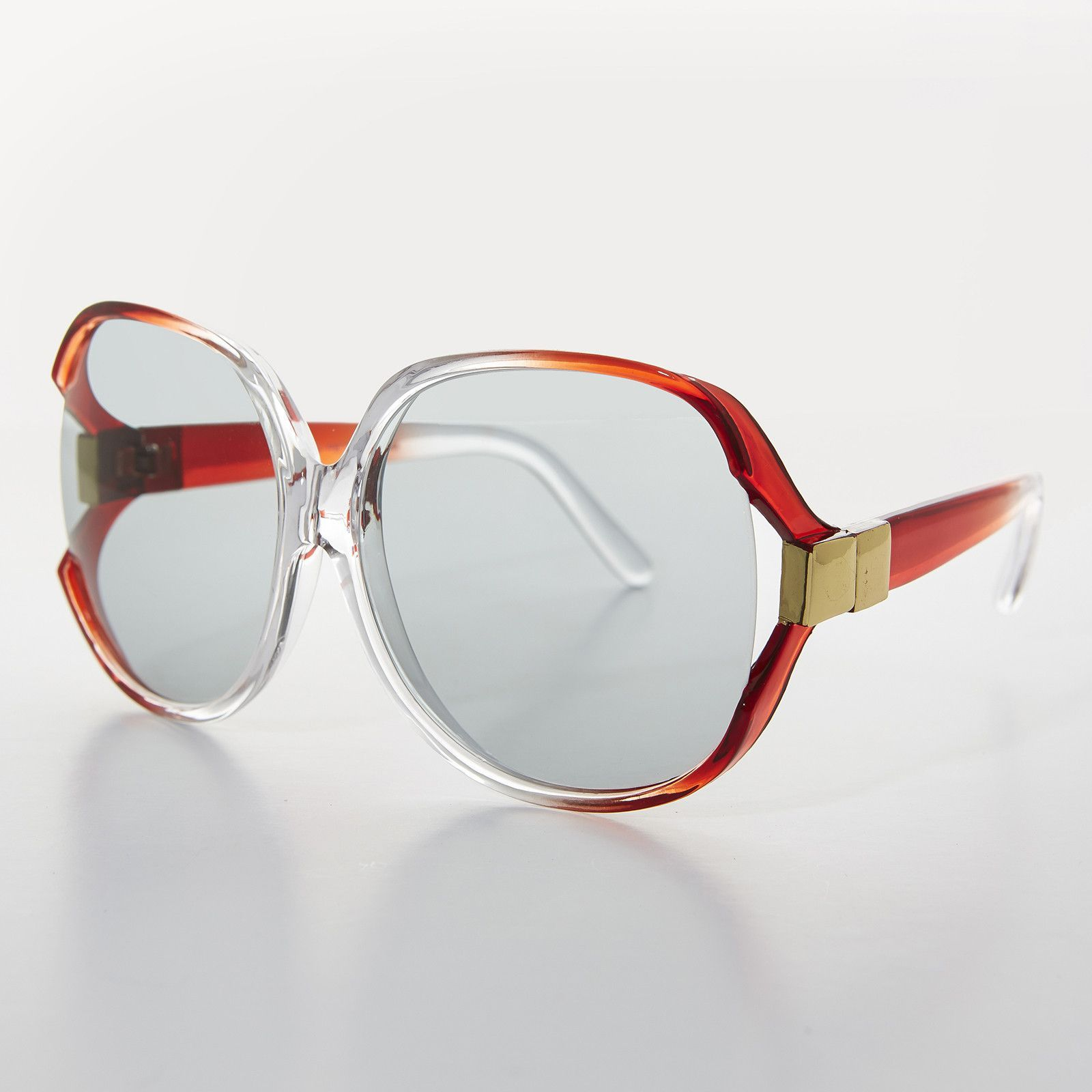 3d481723e7 Oversized Huge Red Jackie O Vintage Sunglass with Transition Glass Lens  NOS-PHYLISS