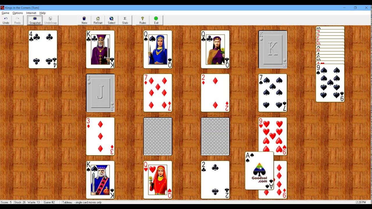 How to Play Kings in the Corners Solitaire Card tricks