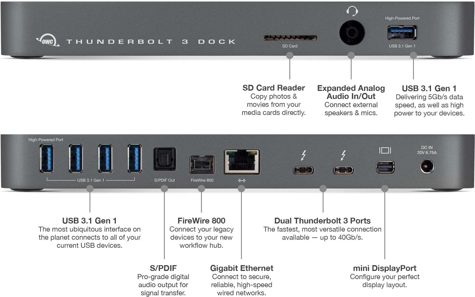$299 :: 60W :: USB 3.1, 1: 5K OR 2: 4K, OWC Thunderbolt 3 no MST ...