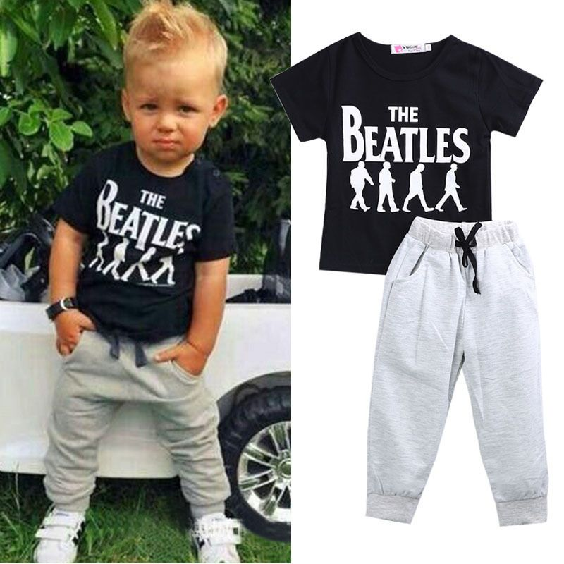 7e7e633b0 2pcs Baby Boy Kids Short Sleeve T-shirt Tops +Pants Outfit Clothing Set  Suit #Unbranded #Everyday