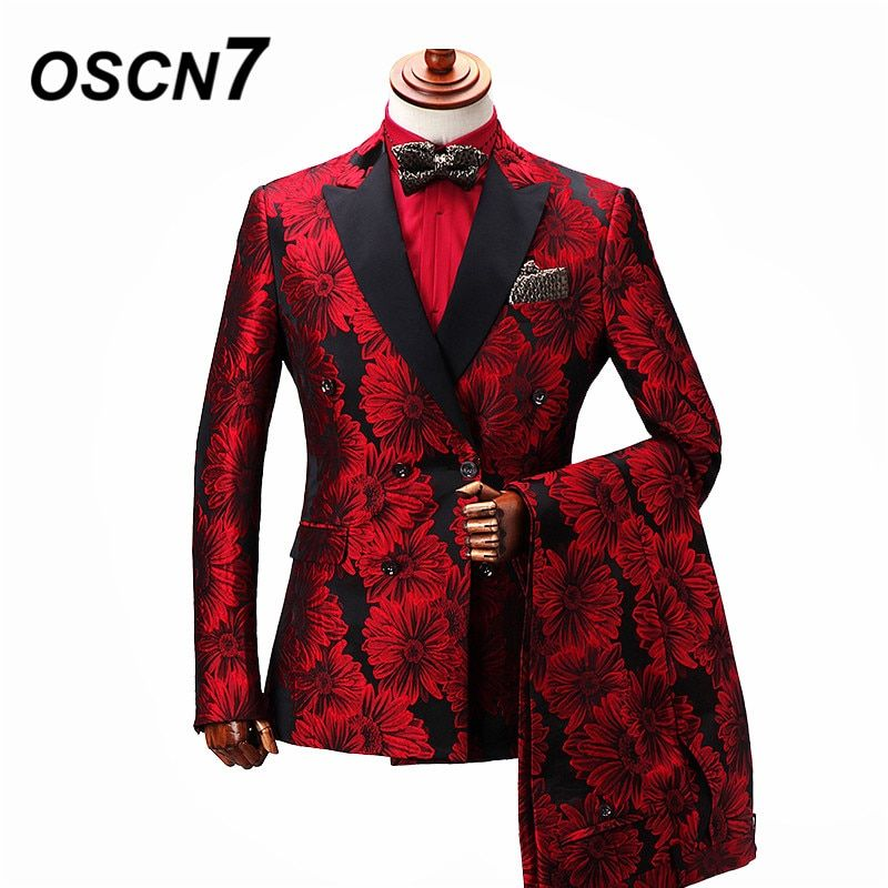 3dd06b4ef71a OSCN7 Double Breasted Tailor Made Suits Gentleman Red Flowers Print Wedding  Dress Custom Made Suit Fashion