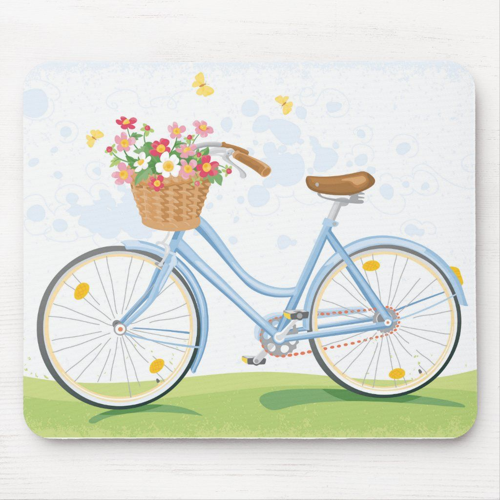 Vintage Bicycle With Flower Basket Mouse Pad Zazzle Com In 2020 Bicycle Painting Bicycle Illustration Bicycle Art
