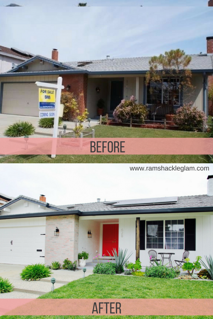 How To Give A Boring 1960s Ranch House A Stylish Exterior Makeover For Under 2k Ranch House Exterior Ranch House Remodel Exterior Makeover