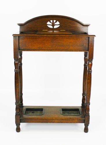 C 1900 Victorian English Oak Umbrella Stand Umbrella Stand Umbrella Oak