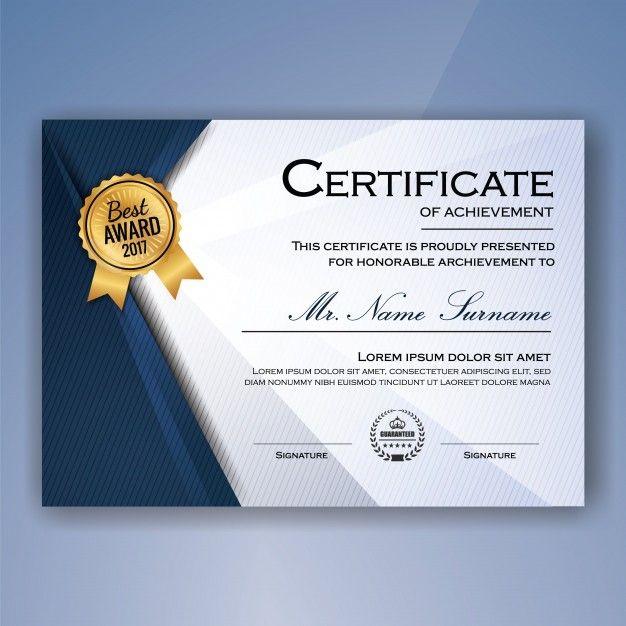 Azul y blanco elegante certificado de logro plantilla de fondo ...