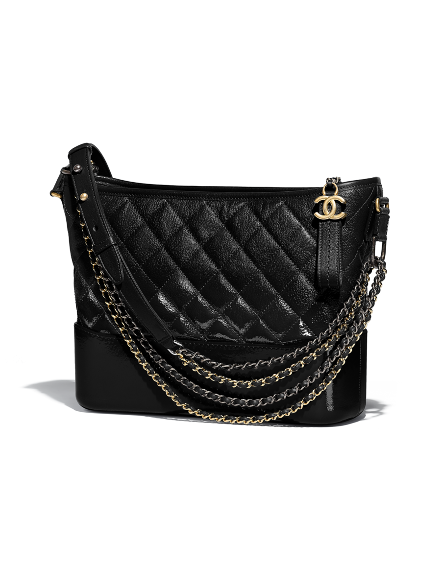 199cbc6cd28a60 CHANEL's GABRIELLE hobo bag, goatskin, patent goatskin, silver-tone &  gold-tone metal-black - CHANEL