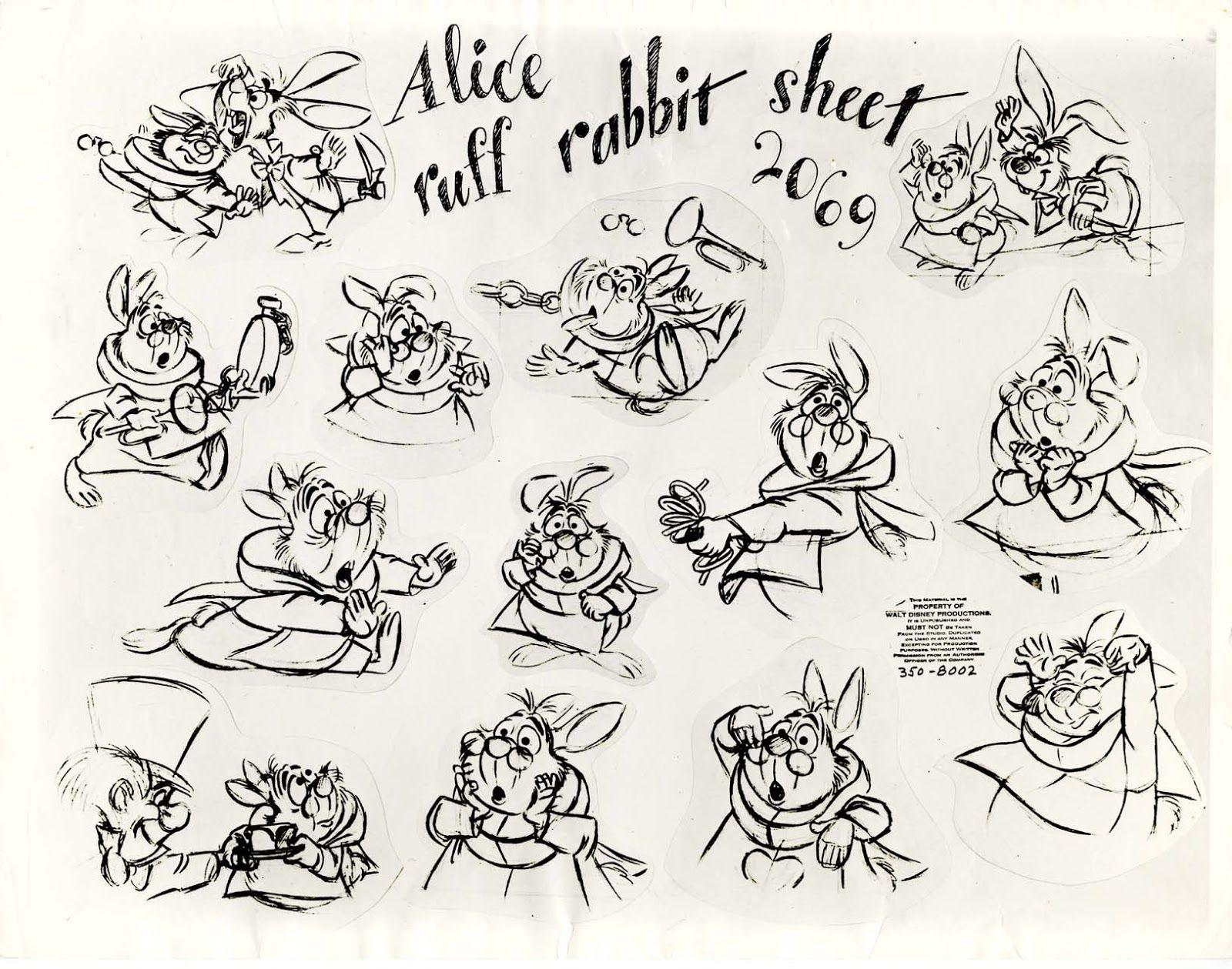 Vintage Disney Alice in Wonderland: Animation Model Sheet 350-8002 - Ruff Rabbit