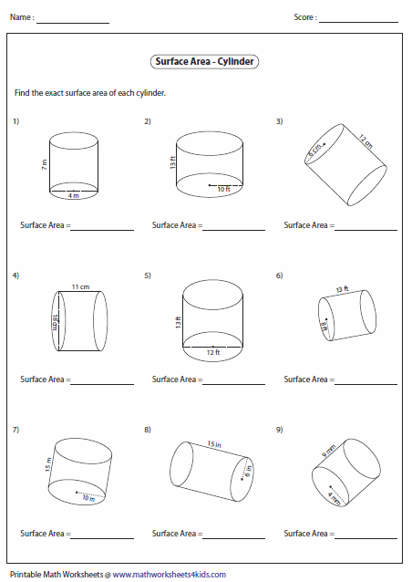 Surface Area Of Cylinders Geometry Pinterest Surface Area