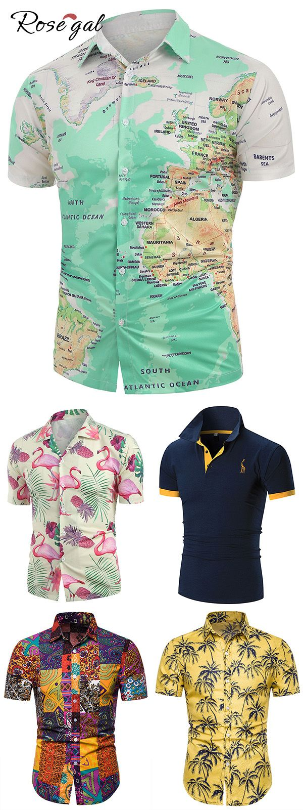Rosegal mens summer shirts ideas map and 3D print is part of diy_crafts - diy_crafts