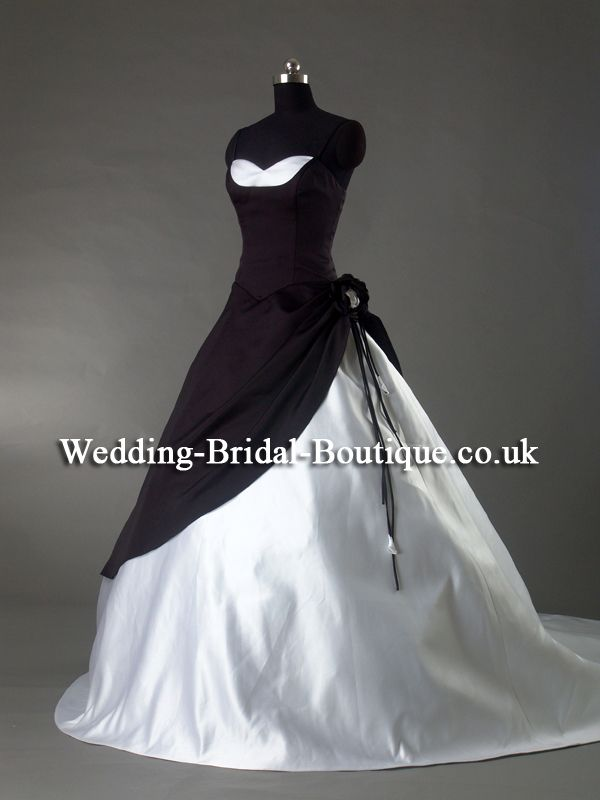 Spaghetti Strap Black Wedding Dress