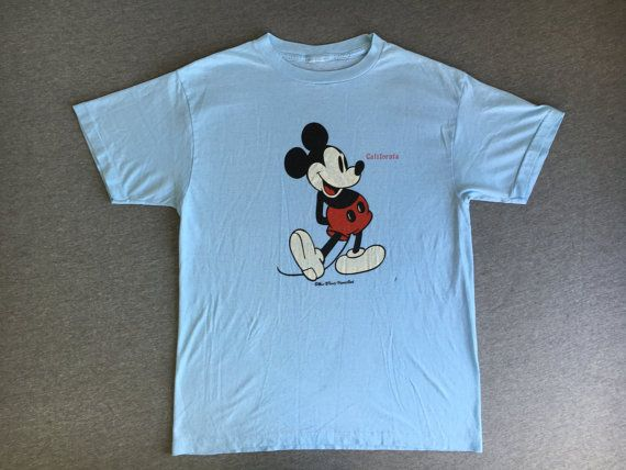 13a2dfb8e MICKEY MOUSE Shirt 80s Vintage/ Walt Disney Classic CALIFORNIA Blue ...