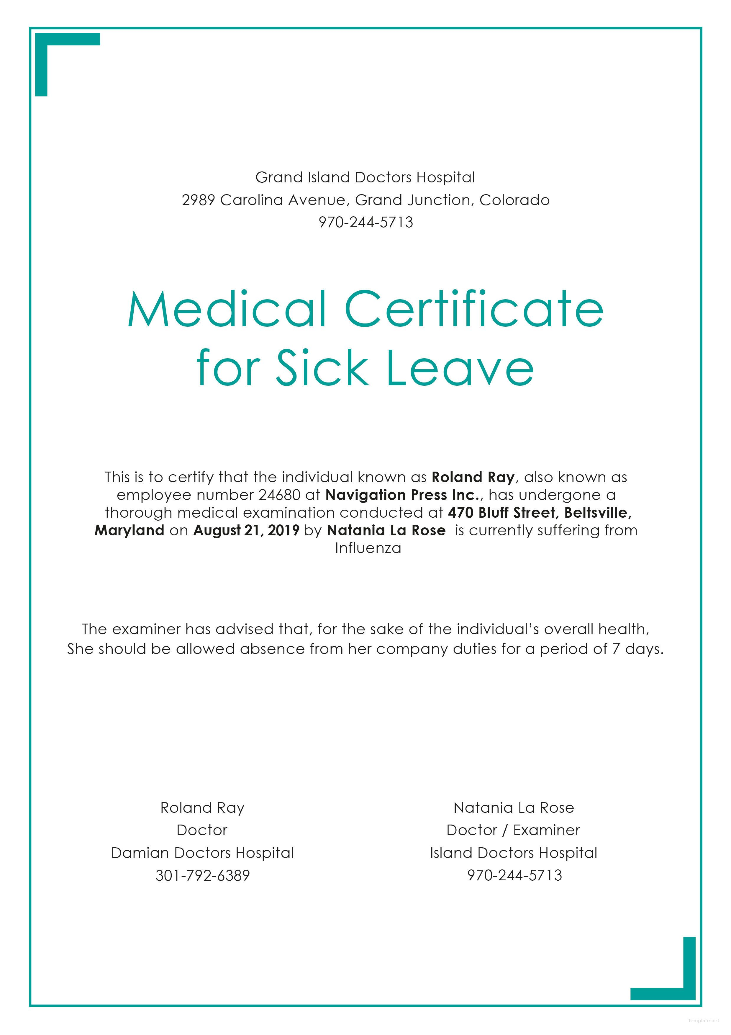 Free Medical Certificate for Sick Leave Sick leave, Free