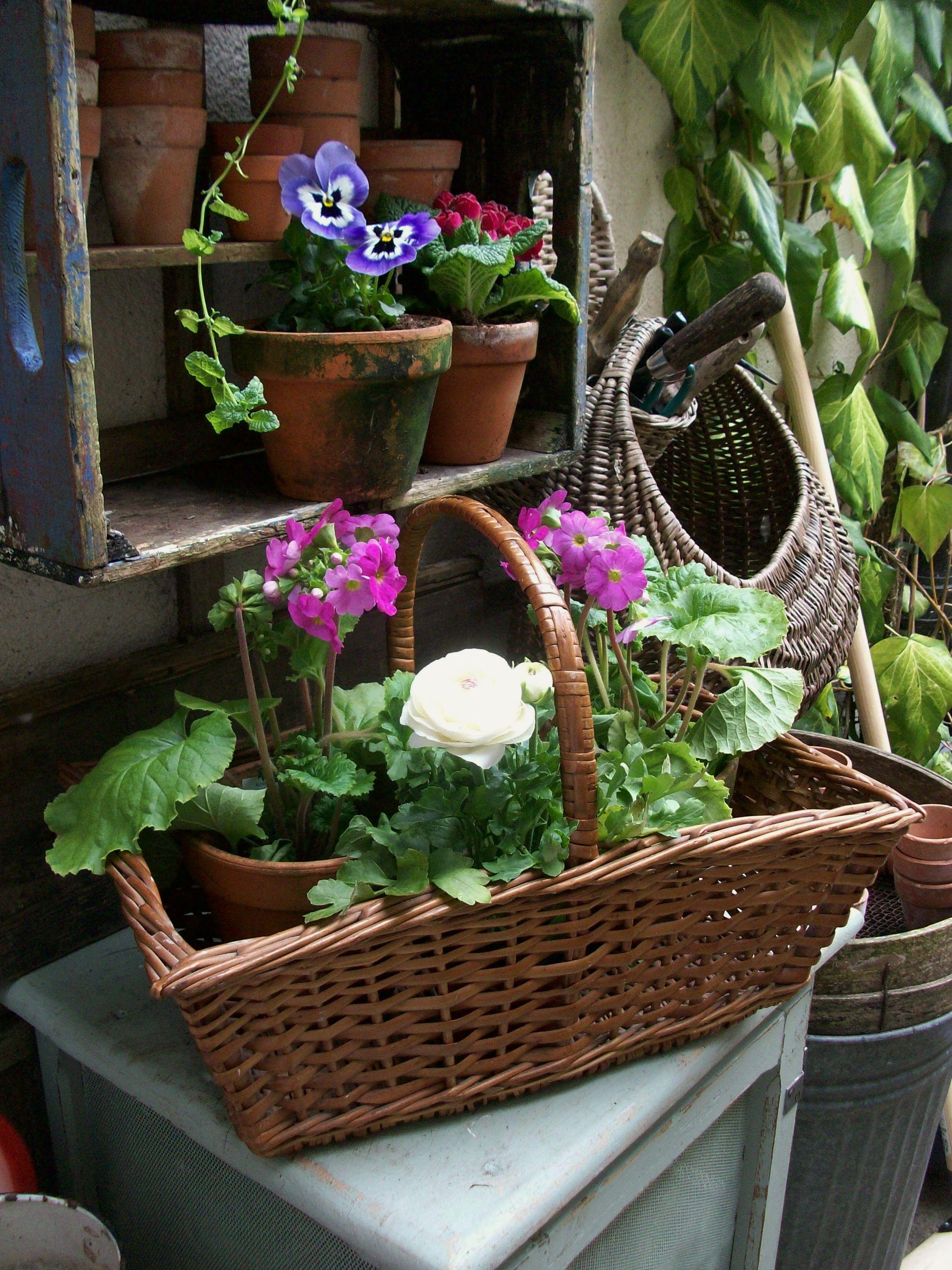 Spring flowers in vintage basket from Lavender House Vintage